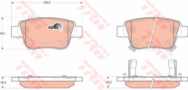 GDB3337 Колодки тормозные TOYOTA AVENSIS 03/COROLLA VERSO 04 задние