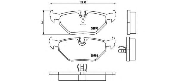 P06011 Колодки тормозные BMW E32/E34/E36/Z3 03 задние