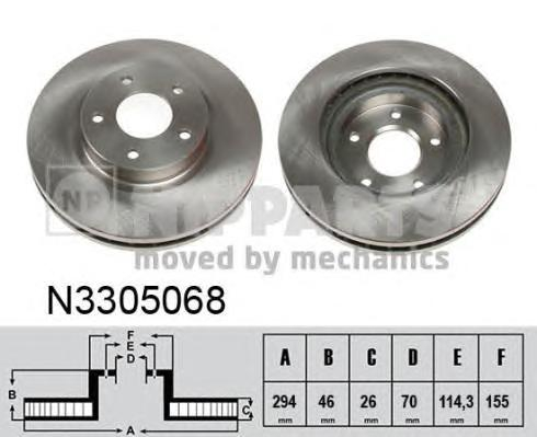 N3305068 Диск тормозной MITSUBISHI ASX 10- передний вент.