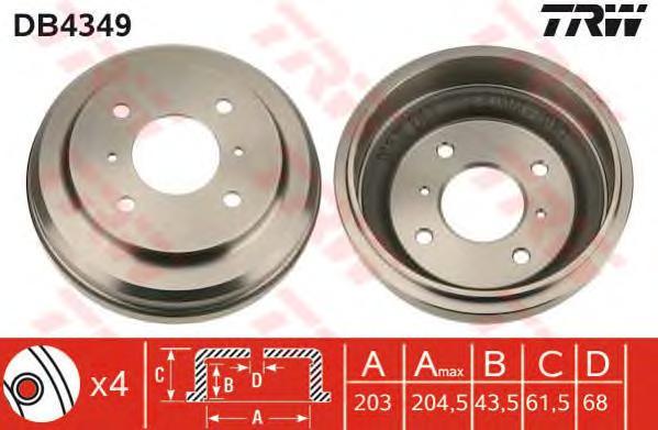 DB4349 Барабан тормозной NISSAN ALMERA (N16) 1.5 00-