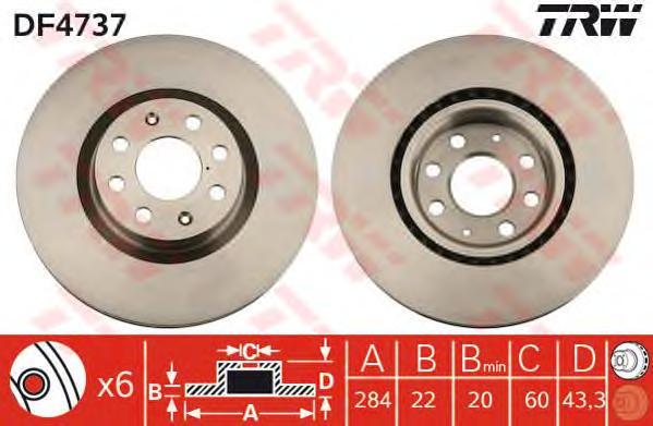 DF4737 Диск тормозной OPEL CORSA 06-/FIAT 500 09-/PUNTO 05- передний вент.D=284мм.