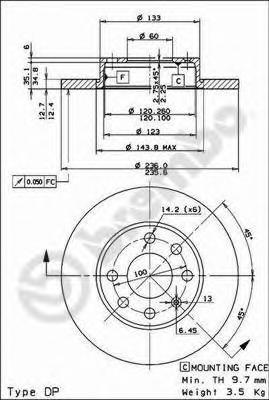 08447510 Диск тормозной OPEL ASTRA 91-02/CORSA 82-00/KADETT 79-92/VECTRA 88-95 передний