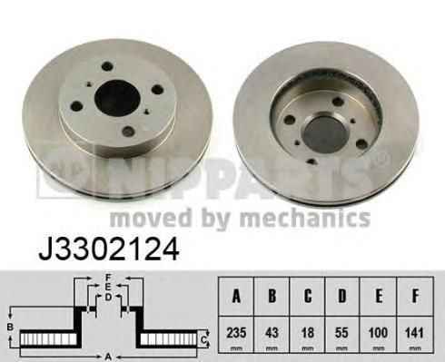 J3302124 Диск тормозной TOYOTA YARIS 1.0-1.4 99- передний вент.D=235мм.
