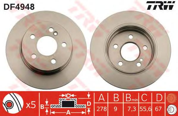 DF4948 Диск тормозной MERCEDES W204 180-200 07- задний D=278мм.