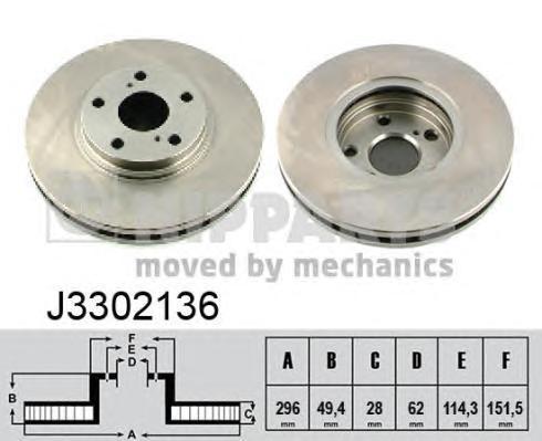 J3302136 Диск тормозной LEXUS RX300/330/350/450h 02- передний вент.D=296мм.