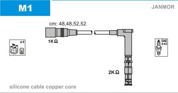 M1 Комплект проводов зажигания MERCEDES-BENZ: C-CLASS 93-00, C-CLASS Break 96-01, C-CLASS универсал 96-01, E-CLASS 93-95, E-CLAS