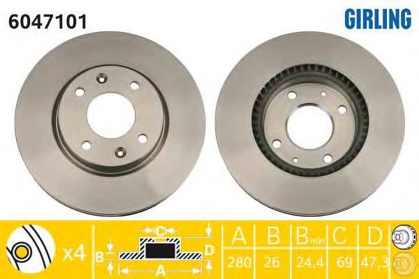 6047101 Диск тормозной HYUNDAI ELANTRA 2.0 01-/SONATA/KIA MAGENTIS 01- передний D=280мм.