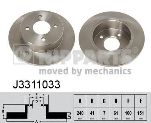 J3311033 Диск тормозной NISSAN MICRA 92-03 задний D=240мм.