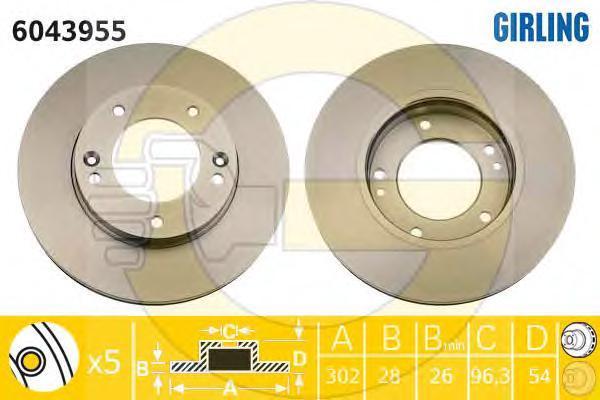 6043955 Диск тормозной KIA SORENTO (JC) 2.4-3.5 02- передний вент.