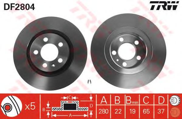 DF2804 Диск тормозной AUDI A3 96-/SKODA OCTAVIA 96-/VW BORA/GOLF IV/V передний D=280мм.