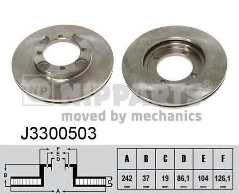 J3300503 Диск тормозной HYUNDAI LANTRA 1.5 90-00 передний вент.D=242мм.