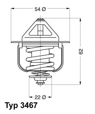 346785D Термостат (с прокладкой) OPEL: ASTRA F 91-98, COMBO 94-01, CORSA B 93-00, VECTRA A 88-95, VECTRA B 95-02