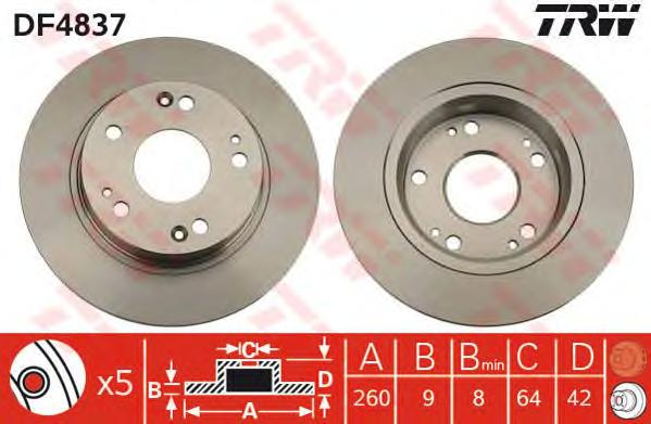DF4837 Диск тормозной HONDA CIVIC 06- задний D=260мм.