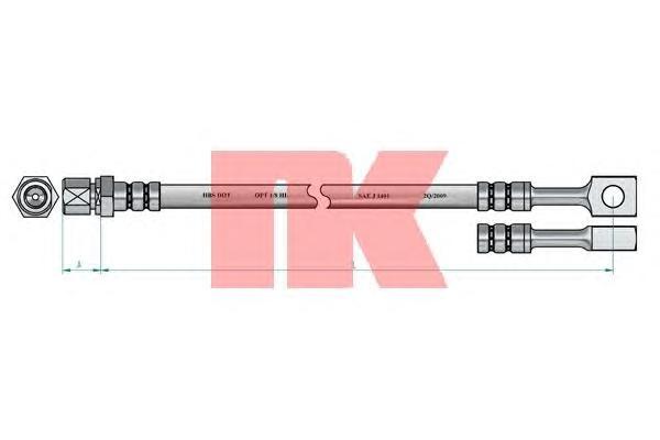853647 Шланг тормозной передний / OPEL Corsa-B, Tigra; Daewoo Espero, Lanos, Nexia  91 ~