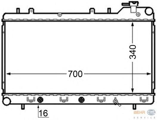 8MK376704561 Радиатор системы охлаждения SUBARU: IMPREZA купе (GFC) 1.6/1.6 4WD 95-00, IMPREZA седан (GC) 1.6 i/1.6 i 4WD/1.8 i
