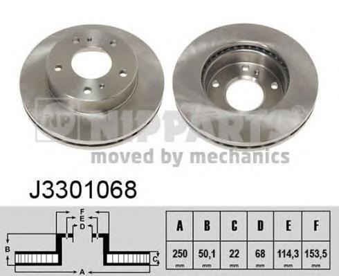J3301068 Диск тормозной NISSAN SERENA 92- передний вент.D=250мм.
