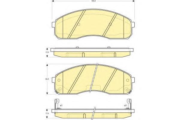 6133019 Колодки тормозные KIA CARNIVAL 2.5-3.5 99-03 передние