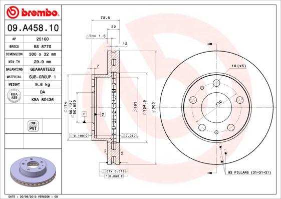 09A45810 Диск тормозной CITROEN JUMPER/FIAT DUCATO/PEUGEOT BOXER 06-передний вент.D=300мм