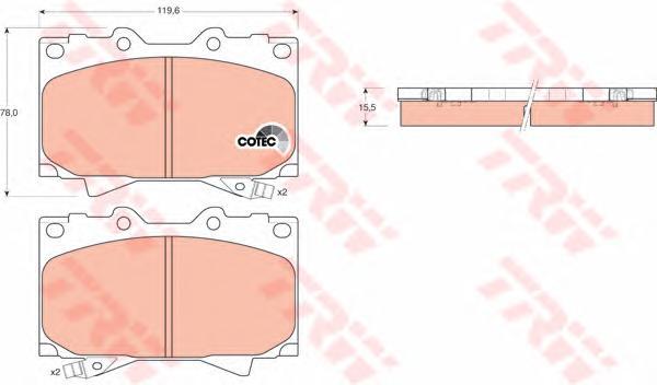 GDB3197 Колодки тормозные TOYOTA LAND CRUISER 4.2D 9098/4.2D/4.7 98 передние