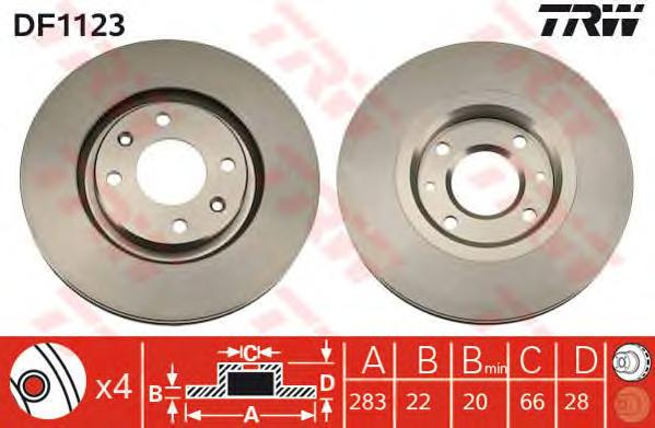 DF1123 Диск тормозной передн CITROEN: XANTIA 93-98, XANTIA 98-03, XANTIA Break 95-98, XANTIA Break 98-03, XSARA 97-05, XSARA Bre