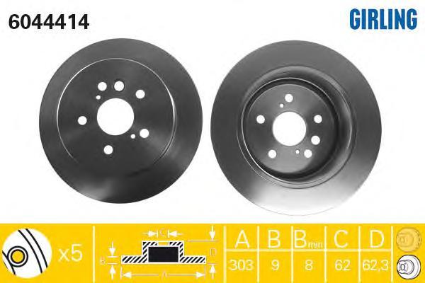 6044414 Диск тормозной TOYOTA RAV 4 II 1.8-2.0 00-06 задний D=303мм.