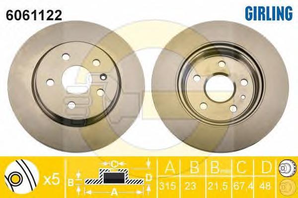 6061122 Диск тормозной OPEL INSIGNIA 08-/SAAB 9-5 10- задний вент.D=315мм.