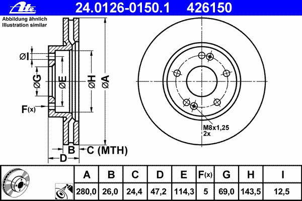 24012601501 Диск тормозной передн, HYUNDAI: i30 1.4/1.6/1.6 CRDi/2.0/2.0 CRDi 07-11, i30 CW 1.4/1.6/1.6 CRDi/2.0/2.0 CRDi 07-12,