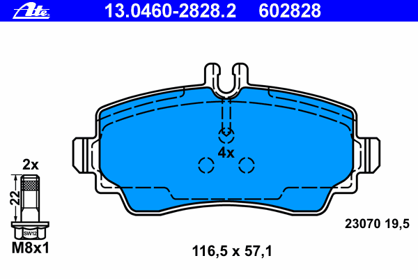 13046028282 Колодки тормозные дисковые передн, MERCEDES-BENZ: VANEO 1.4/1.6/1.7 CDI/1.9 02-05