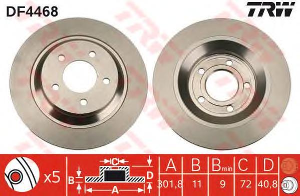 DF4468 Диск тормозной задн MAZDA: 5 (CR19) 05-