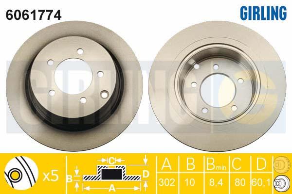 6061774 Диск тормозной MITSUBISHI ASX 10-/OUTLANDER 06- задний