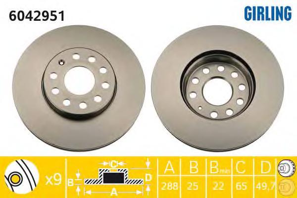 6042951 Диск тормозной AUDI A3 04/VW CADDY 04/G5/TOURAN 03 передний вент.