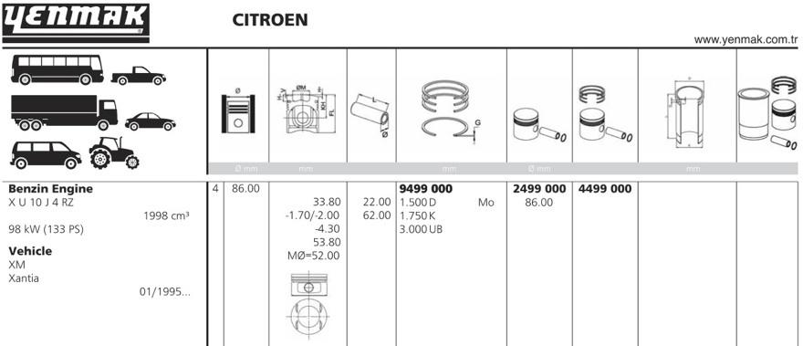 4499000 Поршень ДВС с кольцами Citroen, Peugeot 2.0 16V =86 1.5x1.75x3 std 94