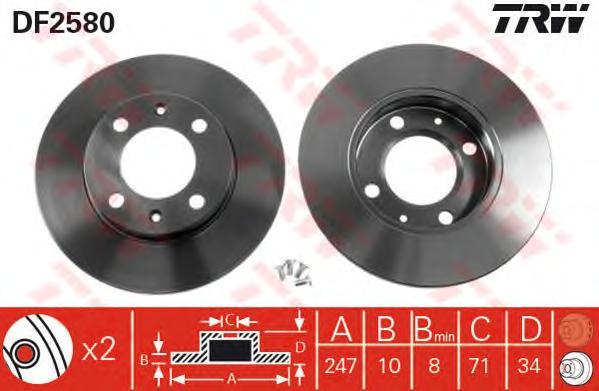 DF2580 Диск тормозной PEUGEOT 405 87-96 задний