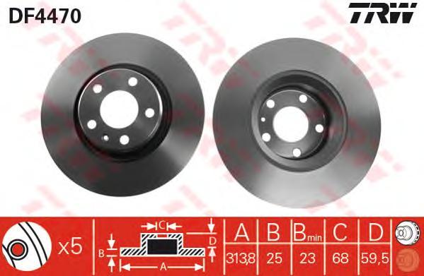 DF4470 Диск тормозной AUDI A6 2.0-5.2 04- передний D=313мм.