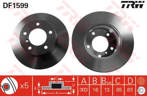 DF1599 Диск тормозной MERCEDES W460 79-93/W461 90-/W463 89- передний D=303мм.