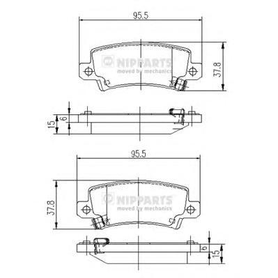 J3612025 Колодки тормозные TOYOTA COROLLA (E12) 0206 с датчиком задние