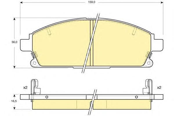 6133129 Колодки тормозные NISSAN PATHFINDER 97-04/X-TRAIL 01-07 передние с инд.износа