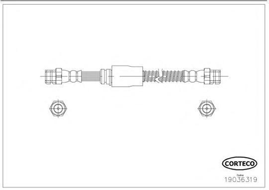 19036319 Шланг тормозной AUDI: A3 1.2 TSI/1.4 TFSI/1.6/1.6 FSI/1.6 TDI/1.8 TFSI/1.9 TDI/2.0 FSI/2.0 TDI/2.0 TDI 16V/2.0 TDI 16V