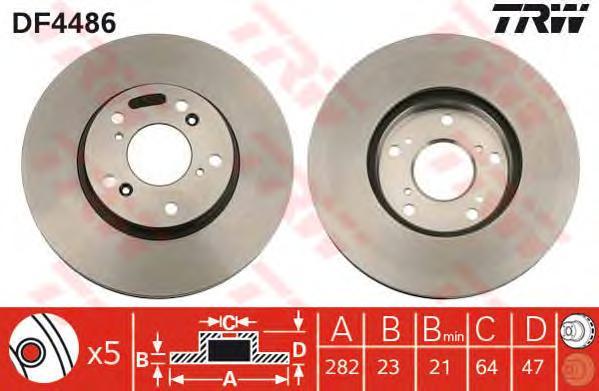 "DF4486 Диск тормозной HONDA CIVIC 01-06/CR-V 2.0 02-06/STREAM 15"" 01- передний вент."