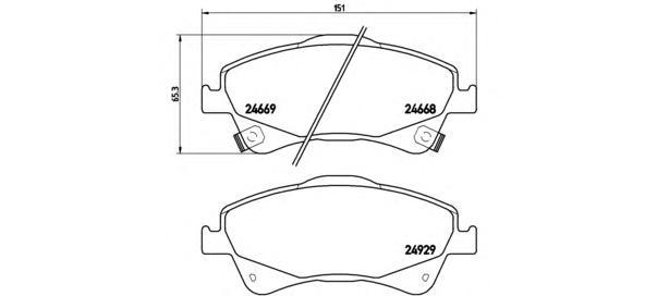 P83109 Колодки тормозные TOYOTA AURIS 2.0D/2.2D 07-/AVENSIS 09-/VERSO 09- передние
