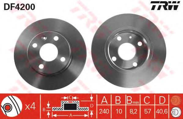DF4200 Диск тормозной OPEL CORSA 00-/TIGRA 04- задний D=240мм.