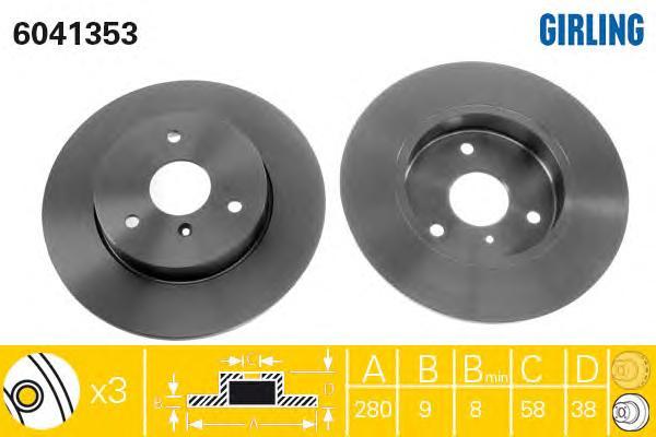 6041353 Диск тормозной SMART CITY-COUPE 98-04/FORTWO 04-/ROADSTER 03-05 передний D=280мм