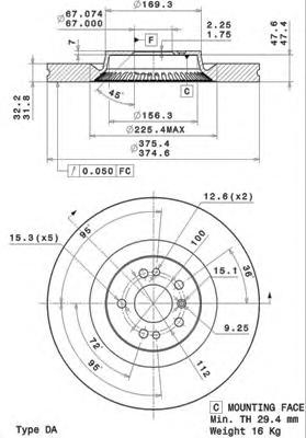 09R10511 Диск тормозной MERCEDES ML W164/GL X164/R W251 06- передний вент. D=375мм.