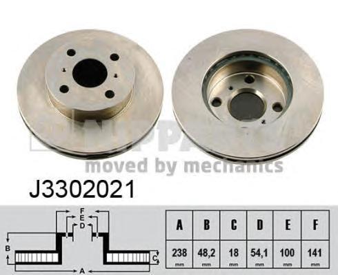 J3302021 Диск тормозной TOYOTA COROLLA 1.3-1.8 87-97 передний