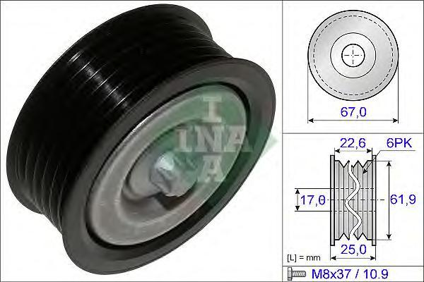 532052610 Ролик ремня приводного MB W203/204/211/212/164/221/906/639 230-500 (c болтом)