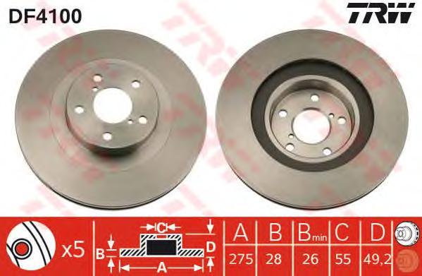 DF4100 Диск тормозной передн TOYOTA: AVENSIS 97-03, AVENSIS Liftback 97-03, AVENSIS Station Wagon 99-03, AVENSIS универсал 03-,