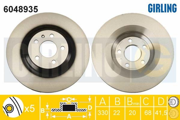 6048935 Диск тормозной AUDI A6 ALLROAD/S6 06- задний D=330мм.