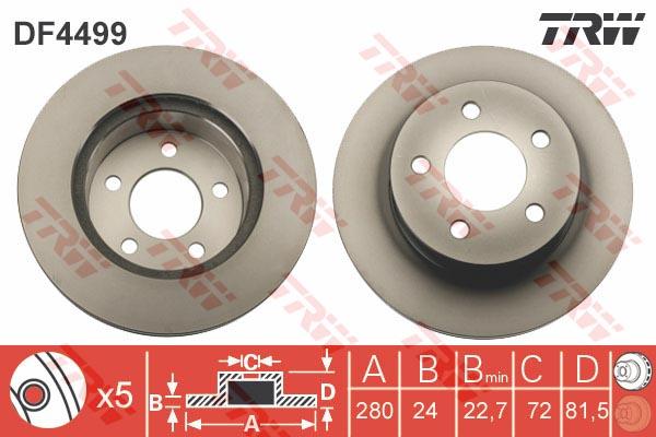 DF4499 Диск тормозной передн JEEP: CHEROKEE 84-, GRAND CHEROKEE I 91-99, WRANGLER I 91-96, WRANGLER II 96-