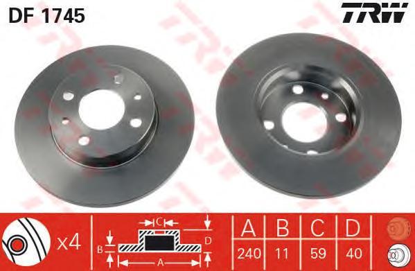 DF1745 Диск тормозной ALFA ROMEO 86-01 передний/FIAT 88- передний/задний