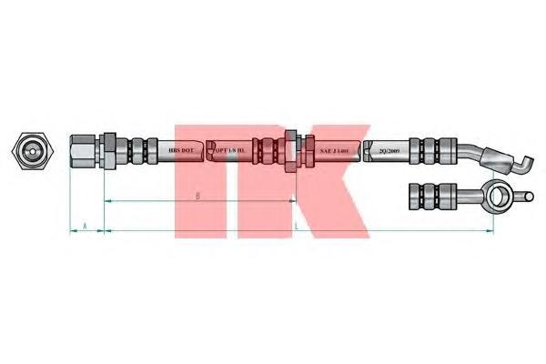 855022 Шланг тормозной CHEVROLET LACETTI 05-/DAEWOO NUBIRA 03- задний правый